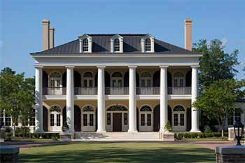 neo classical home metal roof