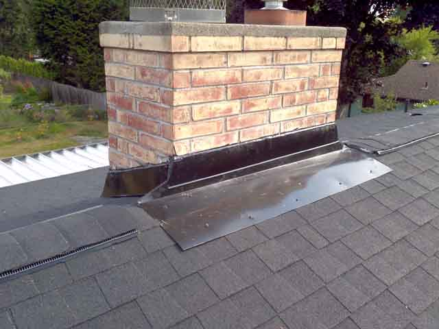 installed chimney flashing